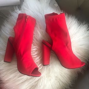 Red booties heel